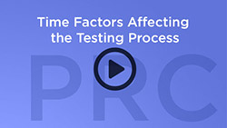 play button that says Time Factors Affecting the Testing  Process